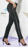 Czarne legginsy damskie push-up z metalowym paskiem z boku