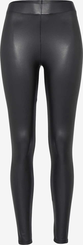 Czarne legginsy damskie z imitacji skóry
