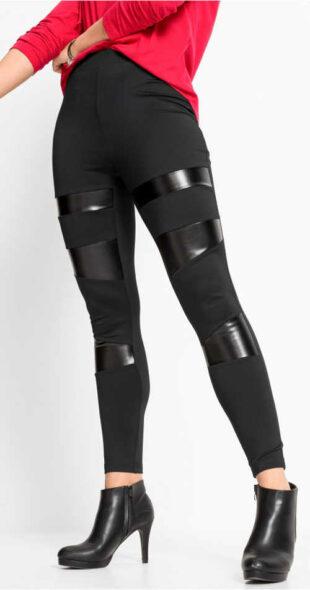 Czarne legginsy termiczne z błyszczącymi wstawkami z PU