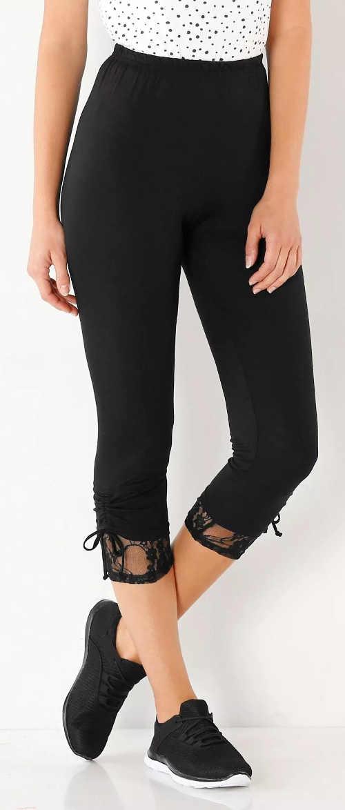 Czarne letnie legginsy damskie z koronkowym wykończeniem