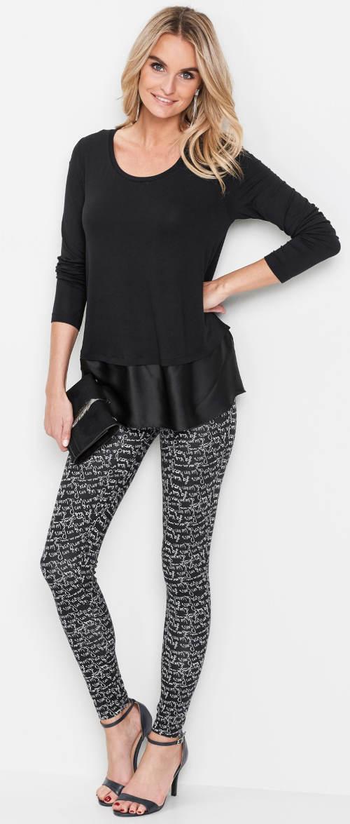 Czarno-białe legginsy do czarnej bluzki