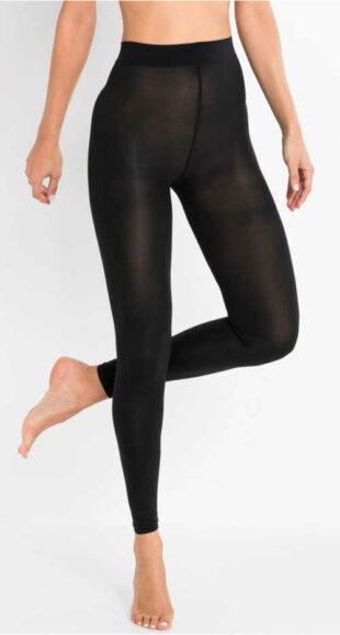 Częściowo prześwitujące czarne legginsy pończochy