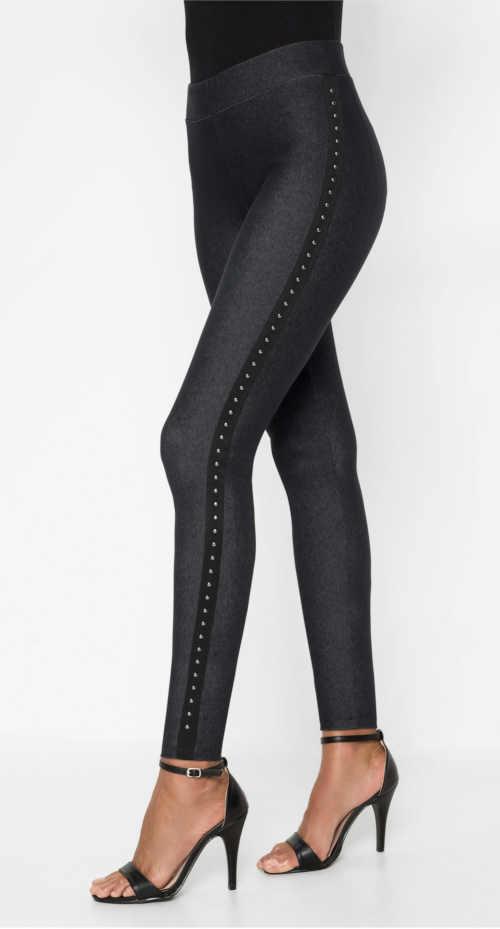 Długie legginsy damskie z imitacji dżinsu