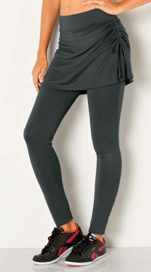 Długie legginsy damskie ze spódnicą
