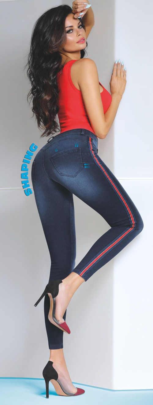 Jeansowe legginsy wyszczuplające sylwetkę Bas Bleu Kaia