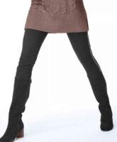 Jednokolorowe długie legginsy z błyszczącymi paskami
