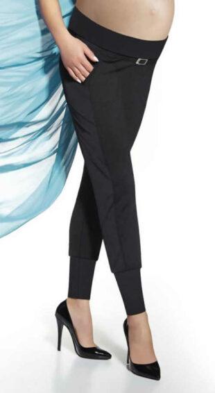Legginsy ciążowe z paskiem i kieszeniami w eleganckim czarnym kolorze