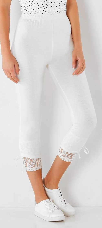 Legginsy spodnie korsarzowe z koronką