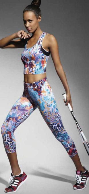 Legginsy sportowe i rekreacyjne w kolorowym designie