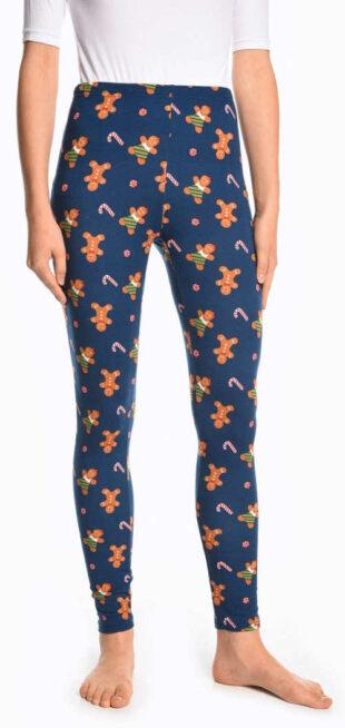 Niebieskie legginsy damskie z nadrukiem piernika