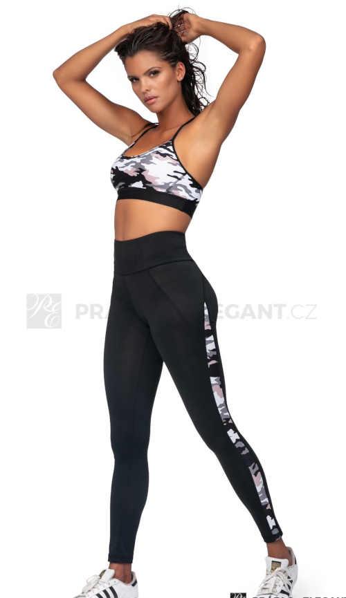 Wojskowe legginsy fitness z długimi spodniami i elastyczną talią