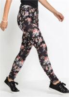 Czarne legginsy damskie w kwiaty