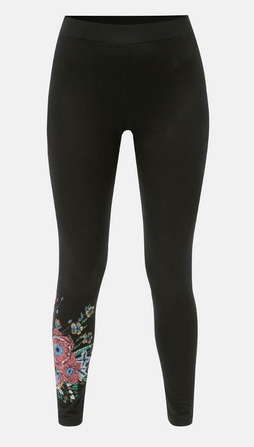 Czarne legginsy Desigual Sol z kwiatowym nadrukiem