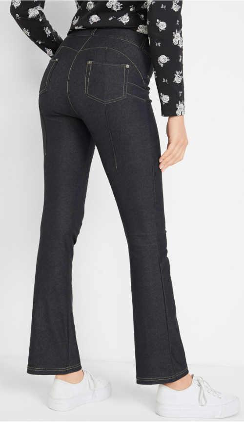 Czarne legginsy modelujące push up z denimu