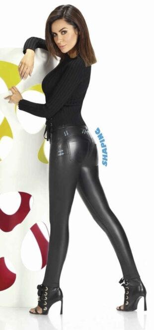 Czarne skórzane legginsy z efektem push-up