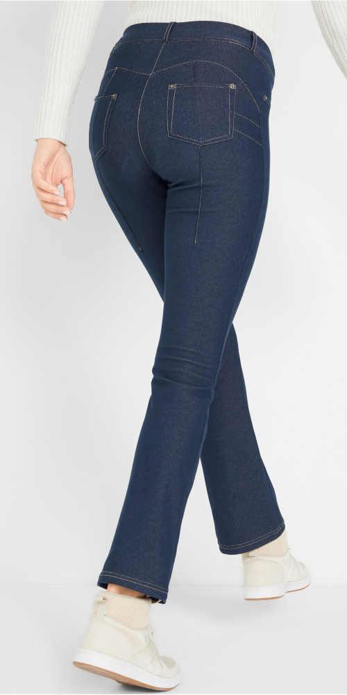 Niebieskie jeansowe legginsy z efektem push-up