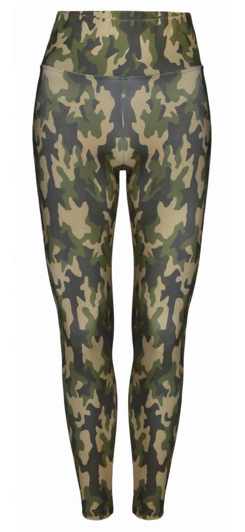 Zielone damskie legginsy wojskowe