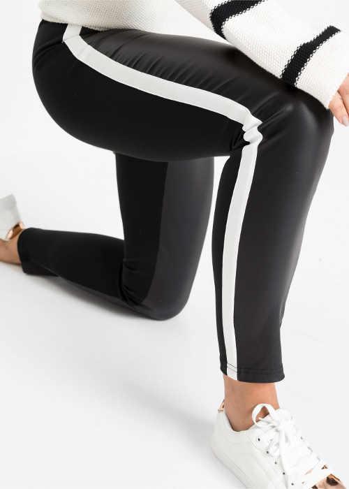 Ciekawe skórzane legginsy z białym paskiem