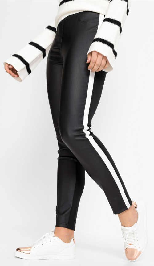 Czarne legginsy imitacja skóry z białym paskiem po boku