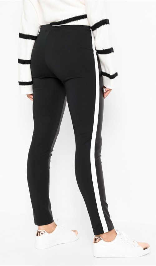 Czarne legginsy z skórzanym przodem