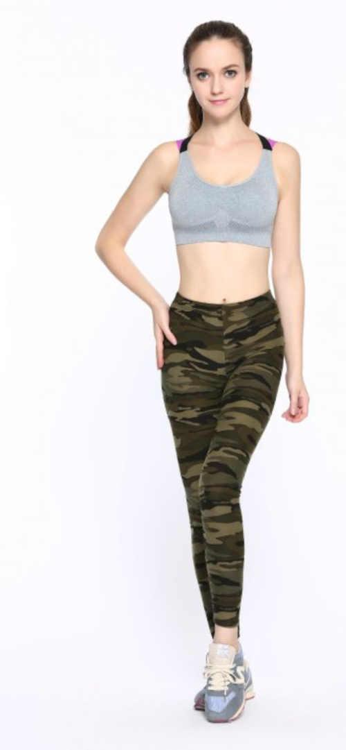 Damskie wygodne legginsy w ponadczasowym stylu wojskowym