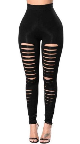 Nowoczesne perforowane legginsy damskie w kolorze czarnym