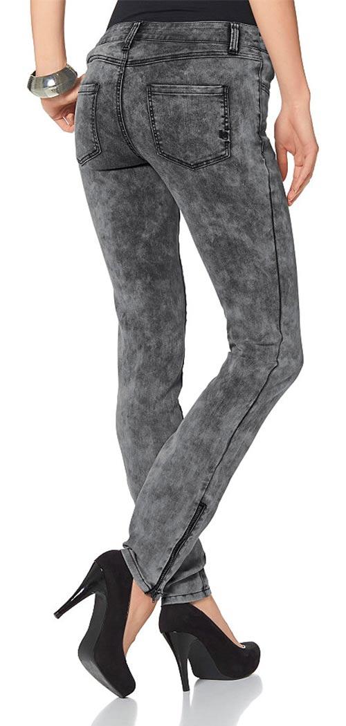 Szare jeansowe jegginsy damskie również w dużych rozmiarach