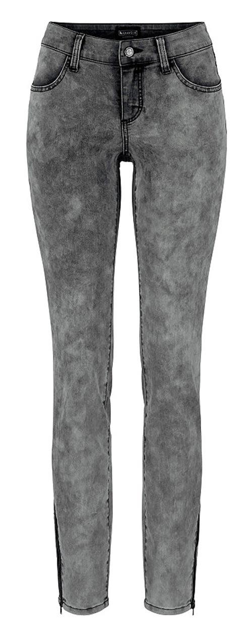 Szare jeansowe legginsy z wytartym wykończeniem