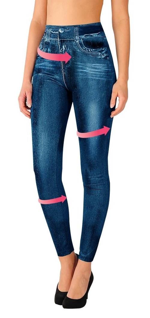 Wyszczuplające legginsy z niebieskiego denimu