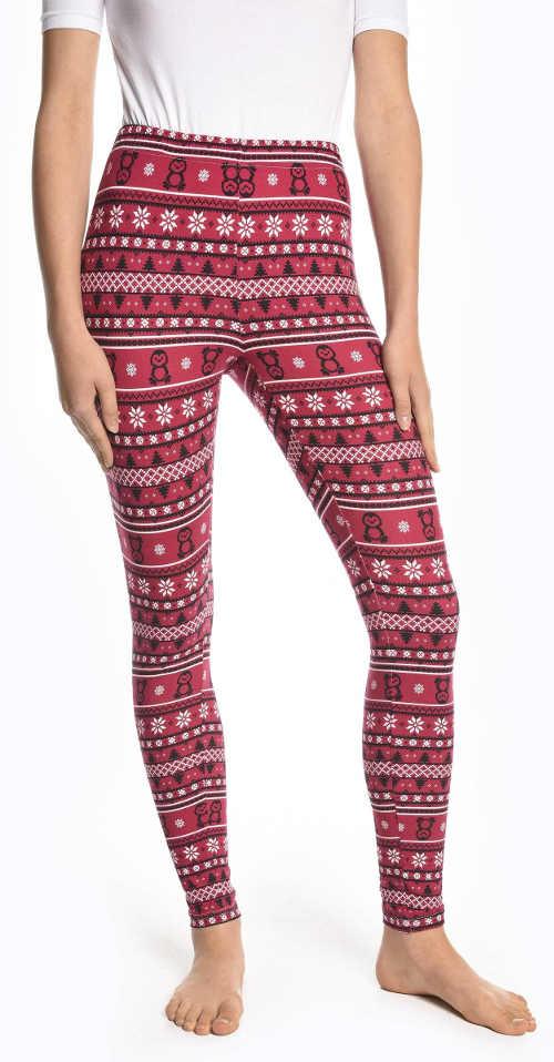 Czerwone legginsy świąteczne z norweskim wzorem