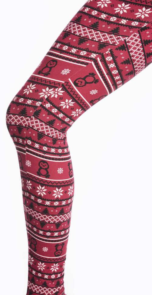 Czerwone legginsy z zimowym wzorem
