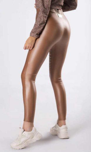 Damskie długie legginsy w kolorze brązowym z imitacji skóry