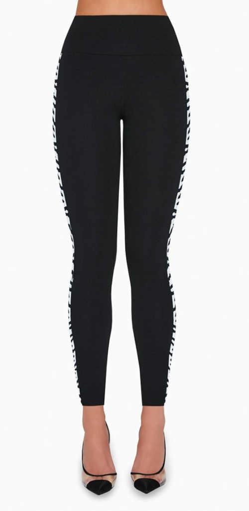 Damskie długie legginsy z kontrastowym paskiem po boku
