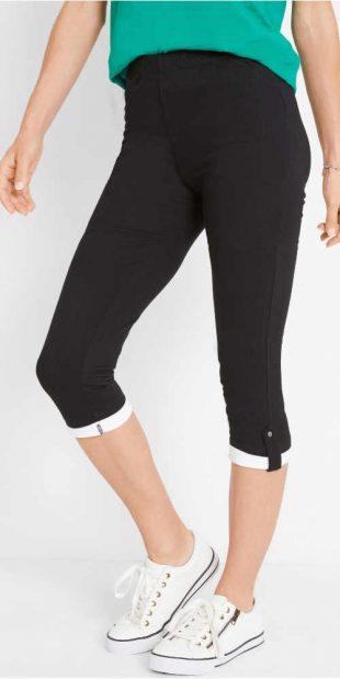 Damskie legginsy capri w jednolitym kolorze z podwiniętymi nogawkami