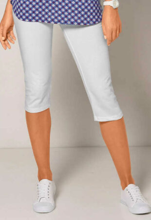 Damskie letnie spodnie corsair w jednolitym kolorze