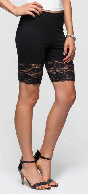Krótkie letnie legginsy z koronką pakiet dwóch sztuk czarno-biały