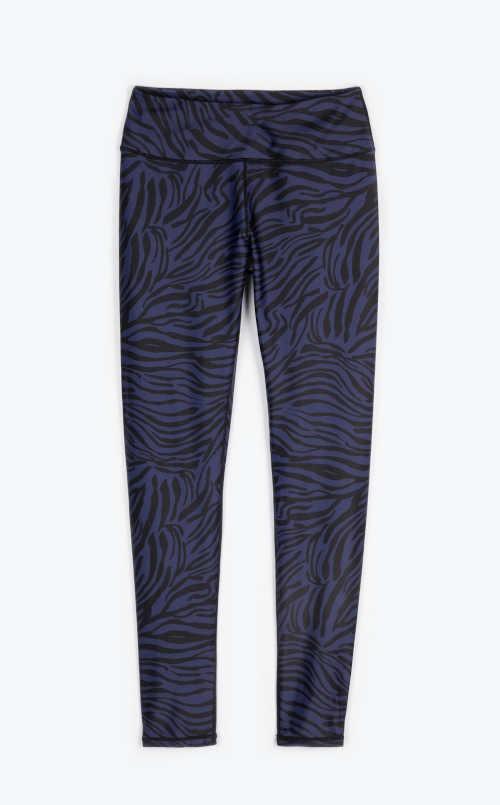 Legginsy damskie niebiesko-czarne długie