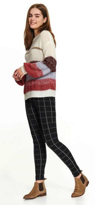 Legginsy damskie w kratkę do swetra