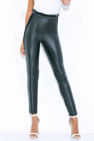 Modne damskie długie legginsy wysokiej jakości w fasonie torebki papierowej