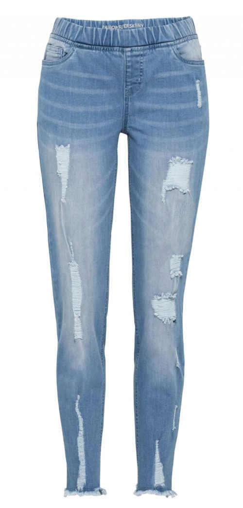 Niebieskie bawełniane legginsy damskie