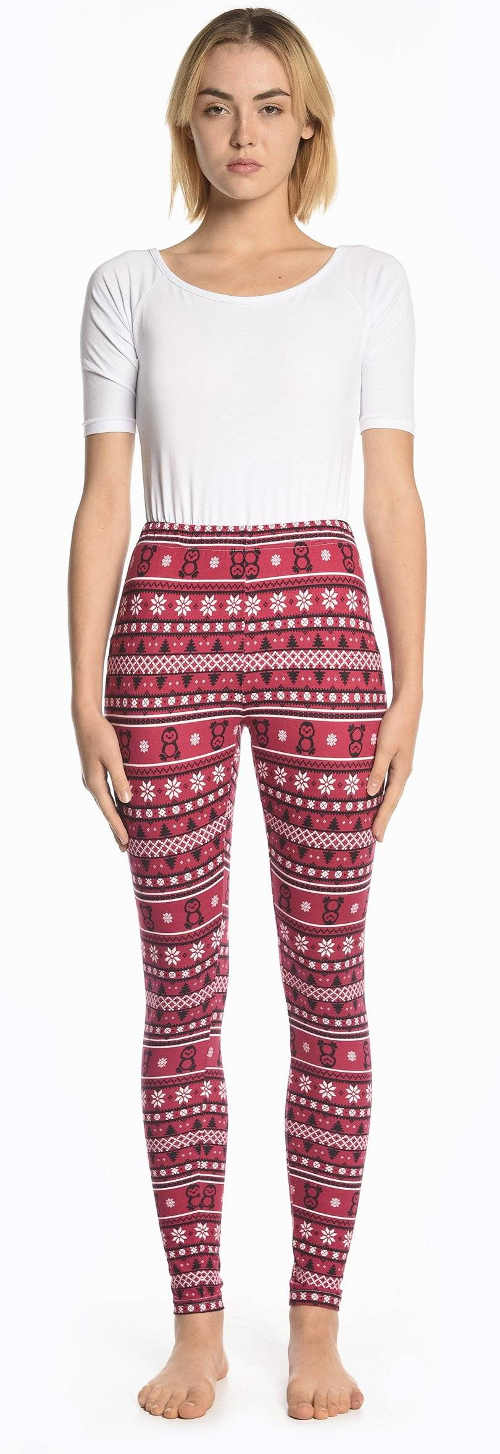 Obniżona cena czerwonych legginsów z norweskim wzorem