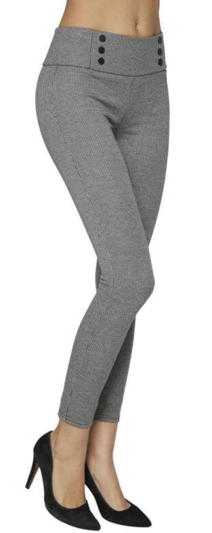 Szare damskie legginsy wizytowe z guzikami