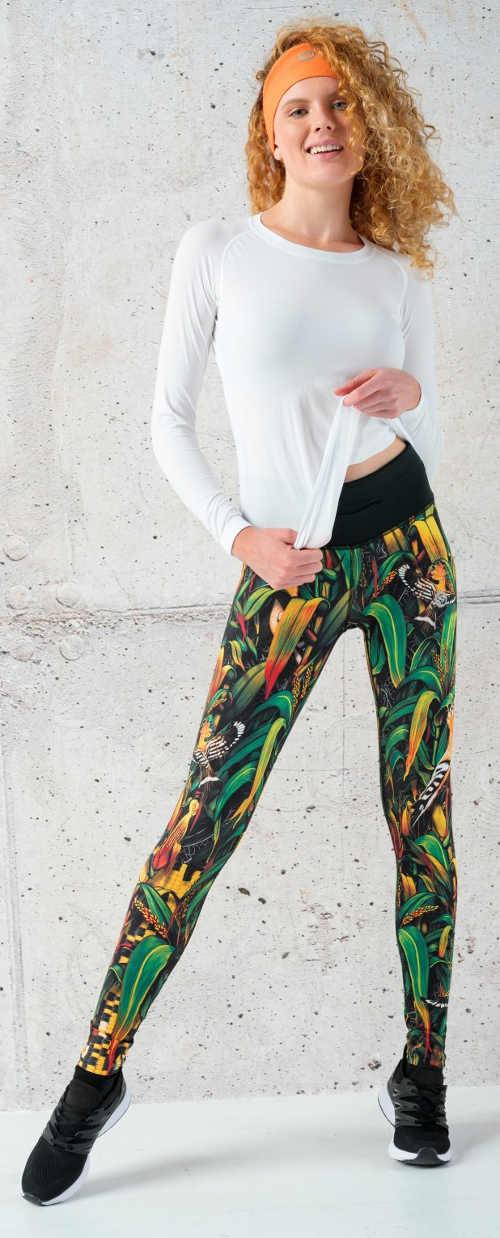 Wielokolorowe damskie legginsy sportowe do biegania