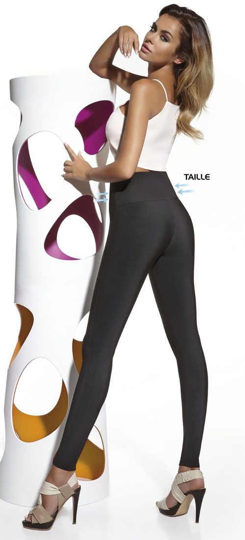 Wyszczuplające legginsy damskie w klasycznym czarnym wzorze