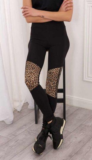 Czarne legginsy damskie z lamparcimi wstawkami