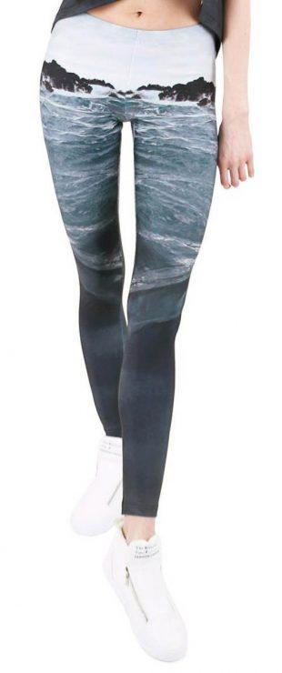 Długie legginsy z nadrukiem Ocean